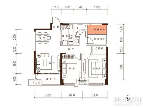 10x10個平方三房二廳設計圖  96平方三房一廳設計圖-96平方三室一廳